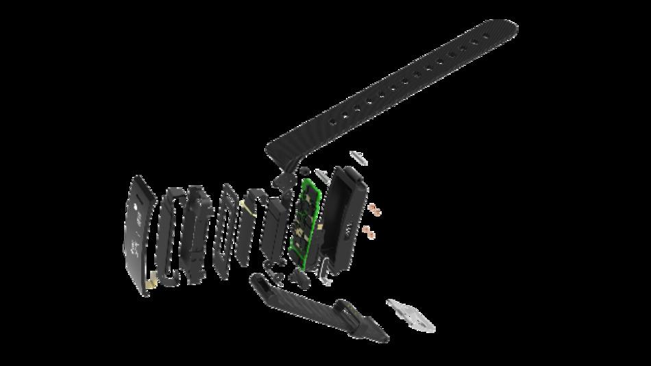 Der Aufbau des  Cling-VOC-Fitnessarmbands, der den Gassensor von ams enthält.