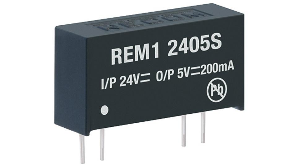 """Bild 2. Im 1-W-Bereich stellt Recom mit der REM1-Serie eine Reihe galvanisch trennender, ungeregelter DC/DC-Wandler im SIP7-Gehäuse für die Medizinelektronik vor, mit Patientenschutz von 2 MOPP. Ihre """"Reinforced""""-Isolation widersteht bis zu 5,2 kV(DC)/Minute, wie es auch für spezielle Applikationen im Bereich Energietechnik und Automatisierungstechnik gefordert wird."""