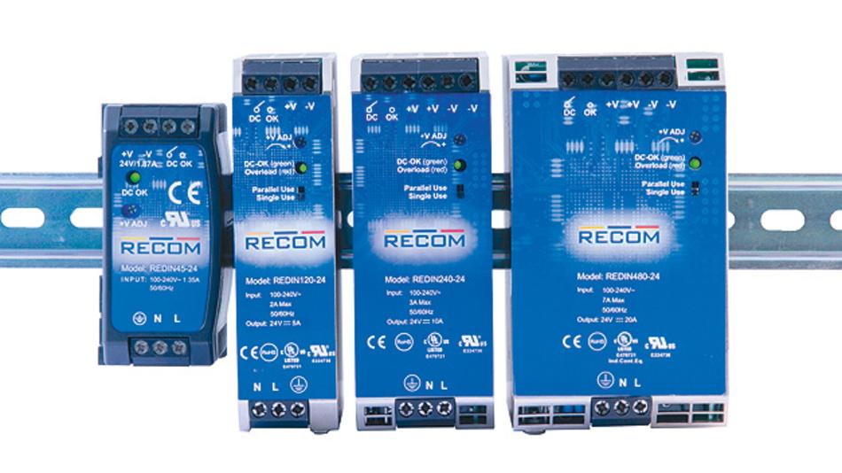 Bild 6. Recom Power erweitert sein Netzteil-Sortiment für die DIN-Schiene der Reihe REDIN um Versionen mit 120 W, 240 W und 480 W.