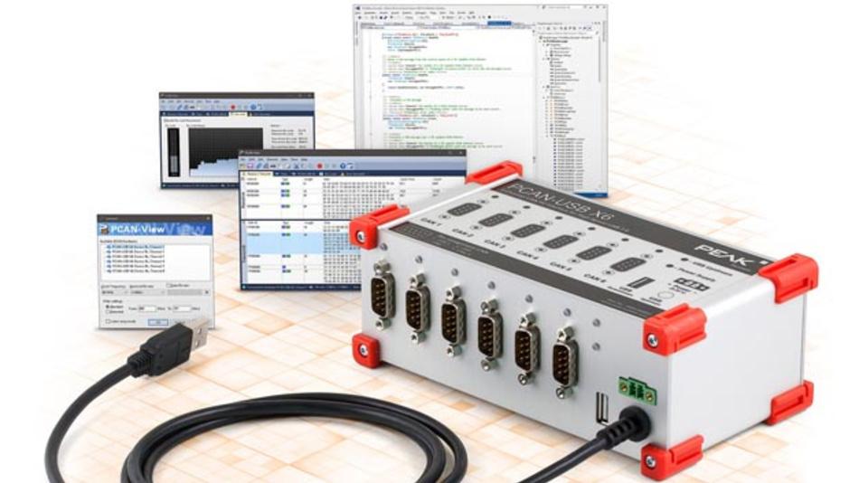 Im PCAN-USB X6 von Peak-Systems sind 6 CAN-FD-Kanäle untergebracht.