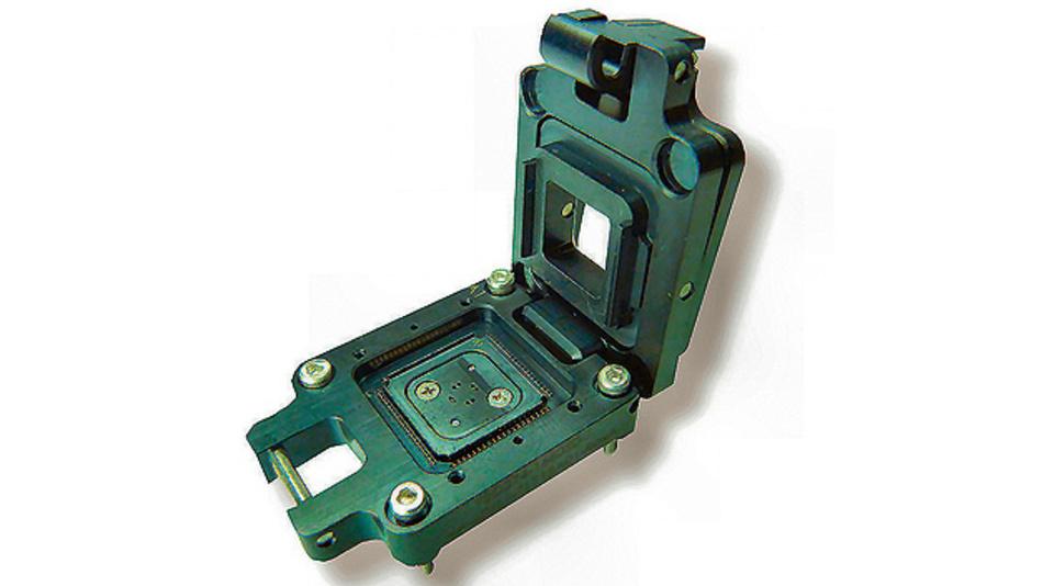 Bild 5. Der von Yamaichi Electronics hergestellte Kelvin-Testsockel eignet sich explizit für Halbleiterbausteine im QFN-, SOP- und QFP-Gehäuse.