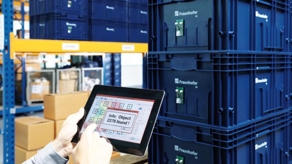 Anwendungsszenario für RFicient Locate: Ortung und Verfolgung von Warenbeständen in einer Lagerhalle