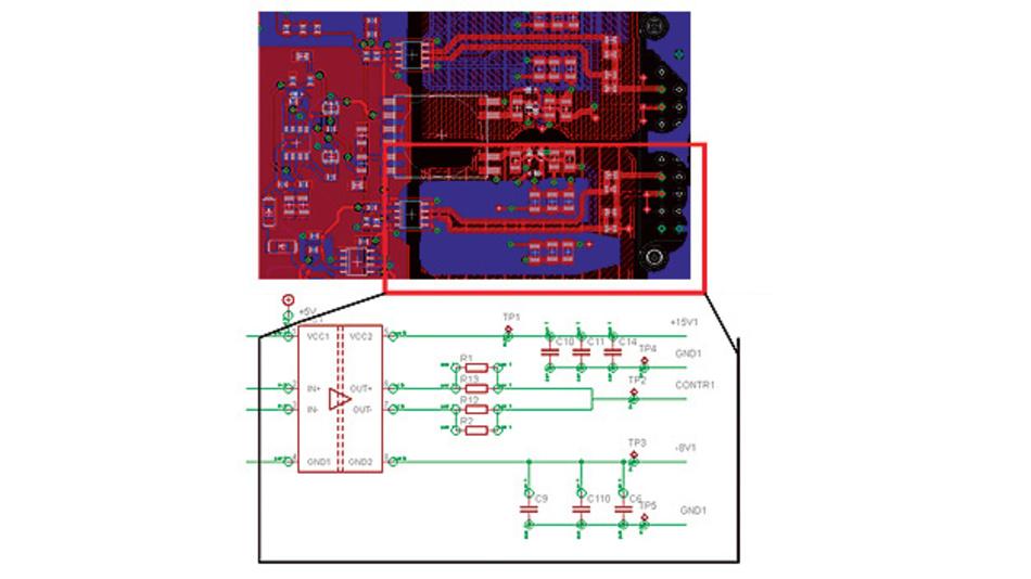 Bild 5. Beispiel eines einfachen Treiberschaltkreises für den CoolSiC-MOSFET mit Hilfe des Kompakttreibers 1EDI60H12AH.