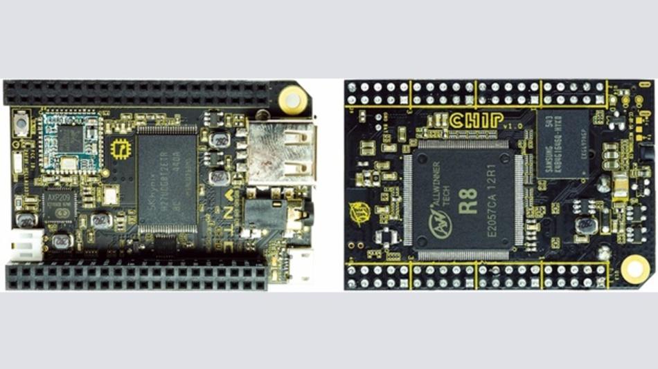 Bild 2: Einplatinencomputer C.H.I.P. mit Bestückungsseite (links) und Lötseite (rechts).