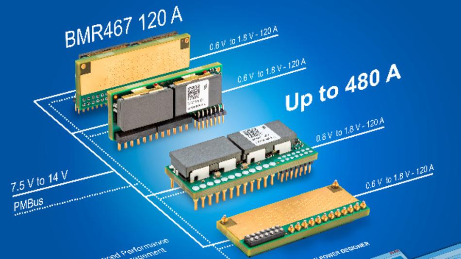 Auf Basis einer 2-Phasen-Schaltung können vier BMR467-Module parallel geschaltet werden, um bis zu 480 A Strom bereitzustellen.