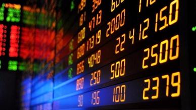 Börsenkurse auf Tafel