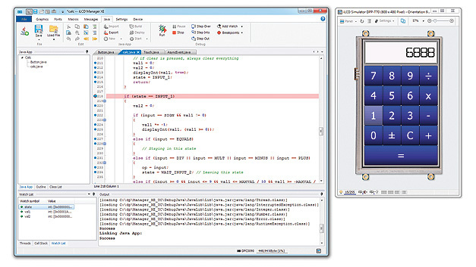Entwicklungswerkzeug iLCD-Manager mit integrierter Java-Unterstützung.