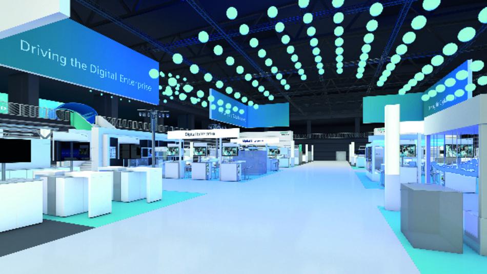 In der Halle 11 präsentiert Siemens die Elemente seines Digital-Enterprise-Portfolios, die schon heute für Industrie 4.0 verfügbar sind.