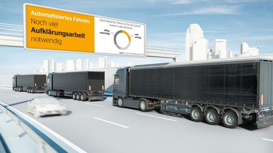 """Die Mobilitätsstudie 2016 """"Der vernetzte Truck"""" von Conitnental zeigte, dass beim automatisierten Fahren noch viel Aufklärungsarbeit notwendig ist."""