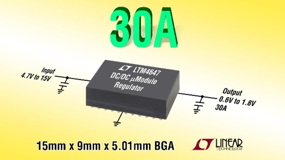 30A-µModule-Abwärtsregler im 9mm x 15mm großen BGA-Gehäuse.