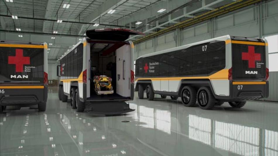 """Eine Idee, die Leben retten soll: das """"flexible humanitäre Fahrzeugkonzept flexHVC"""", entworfen vom Student Johannes Schmutzler in Zusammenarbeit mit MAN Truck & Bus."""