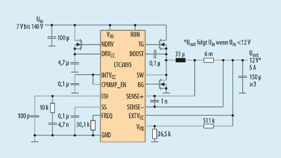 Bild 1. Diese Schaltung des LTC3895 liefert 12 V am Ausgang bei einer Eingangsspannung zwischen 7 und 140 V.