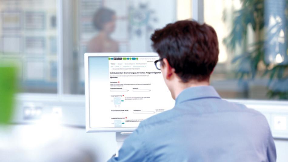 Einfaches Bestellen individuell  parametrierter Stromversorgungen über den Online-Konfigurator.