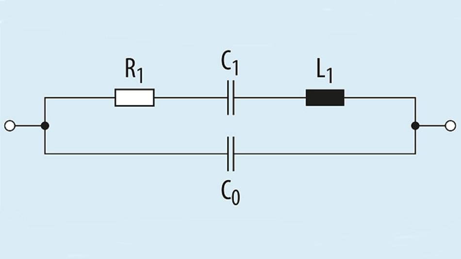 Bild 1. Die Ersatzschaltung eines Quarz- bzw. OFW-Resonators besteht aus einem Serien- und einem Parallelschwingkreis mit gemeinsamer Induktivität.