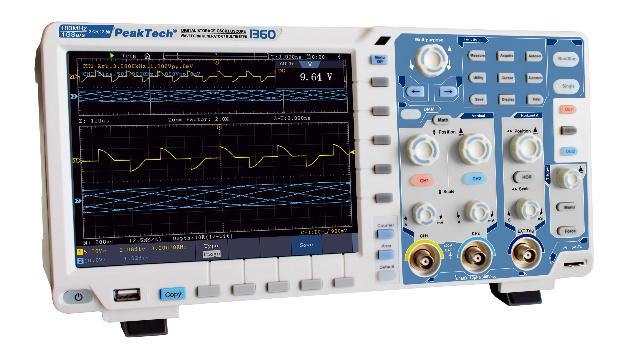 Das DSO P-1360 von Peaktech verfügt über 12 bit Auflösung und 100 MHz Bandbreite.