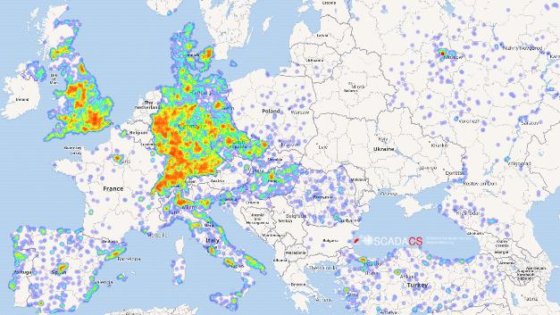 Alle über das TR-069-Protokoll erreichbaren Geräte in Europa.