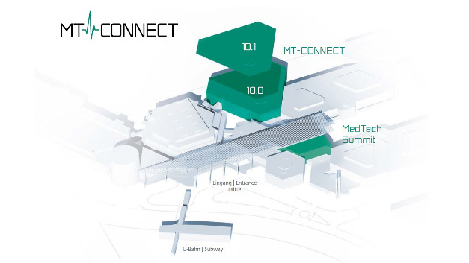 Die MT-CONNECT wird in Halle 10 der Nürnberger Messe stattfinden, parallel zum MedTech Summit im NCC-Mitte.
