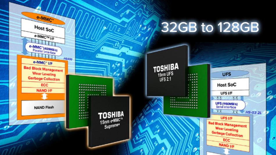 Eine Datentransferrate von 320 MByte/s erreichen die eMMC-NAND-Flash-Speicherbausteine von Toshiba beim sequenziellen Lesen.