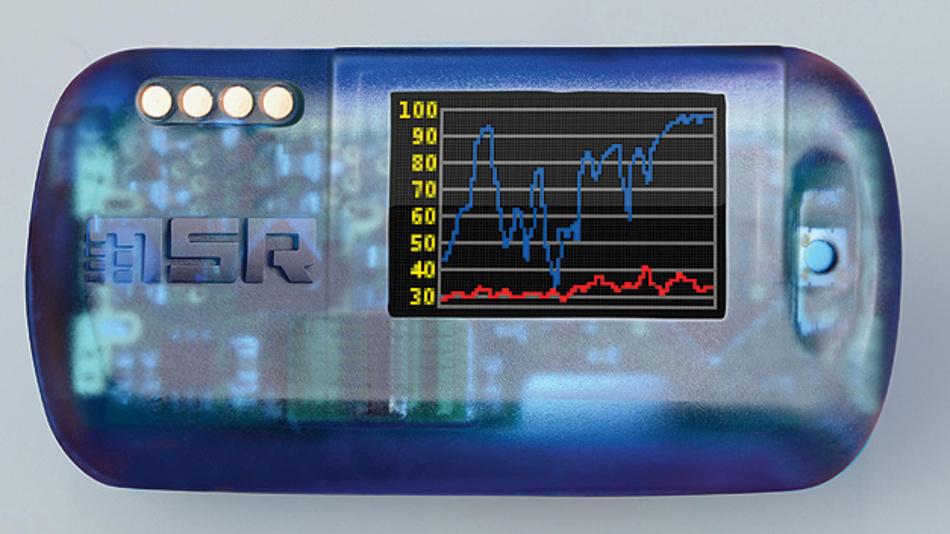 Bild 1. Die Mini-Datenlogger MSR145WD können mit Display und vor allem mit Bluetooth-Wireless aufwarten; Letzteres ist zwingend nötig, um die Messdaten aus den druckdicht geschlossenen Sitzpolster-Luftkissen heraus zu funken.