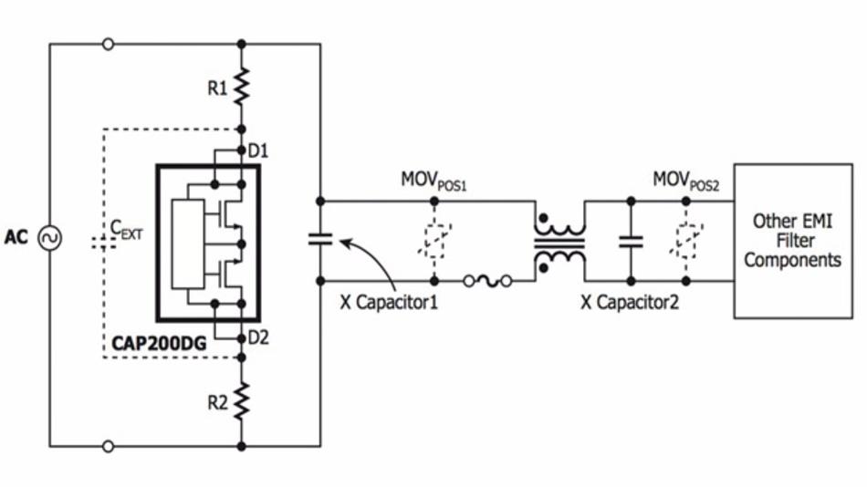 Bild 1: Eingangskreis einer Stromversorgung mit dem »CAP200DG« aus der Produktfamilie »CAPZero-2« von Power Integrations.