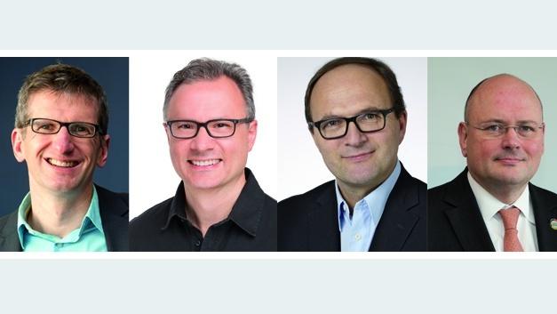 v.l.n.r.: Prof. Christof Paar, Tyson Tuttle, Prof. Axel Sikora, Arne Schönbohm.