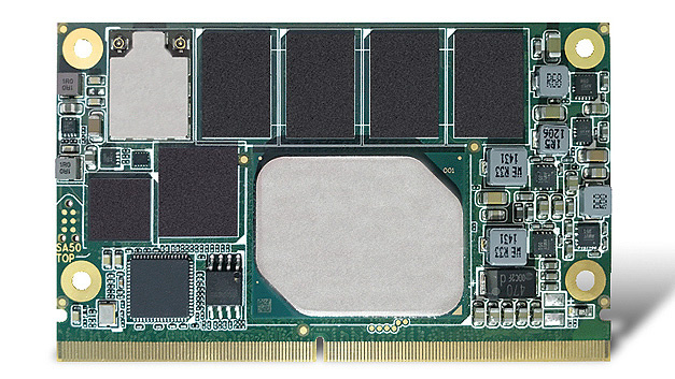 Bild 2. Das Computer-on-Module conga-SA5 von Congatec mit Apollo-Lake-Prozessoren hat optional auch WiFi und Bluetooth (BLE) an Bord.