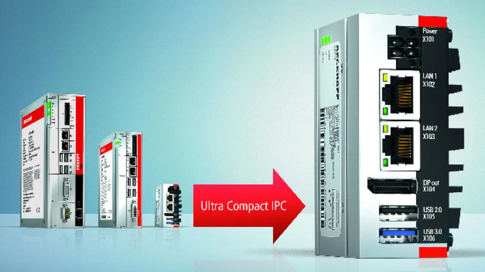 Der Ultra-Compact-IPC C6015 baut um den Faktor 3 kompakter als der bisher kleinste Beckhoff-Schaltschrank-IPC C6905.