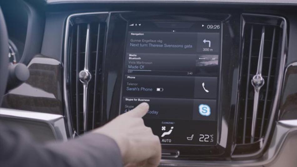 Die App Skype for Business von Microsoft wird zunächst für die Volvo-Modelle der neuen 90er-Serie angeboten und steht im Laufe des Jahres 2017 zur Verfügung.