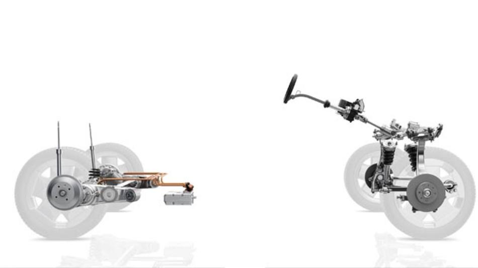 Das Intelligent Rolling Chassis von ZF vereint elektrischen Antrieb und ein wendiges Fahrwerk mit einem komplett ebenen Fahrzeugboden.
