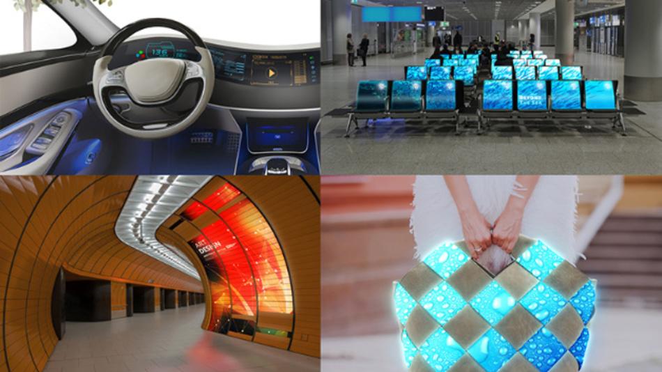 LCDs auf organischen Substraten können deutlich einfacher als Freiform-Displays produziert werden als LCDs auf Glassubstraten.