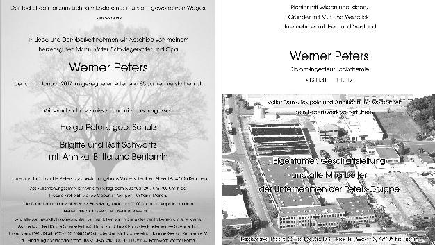 Werner Peters ist gestorben