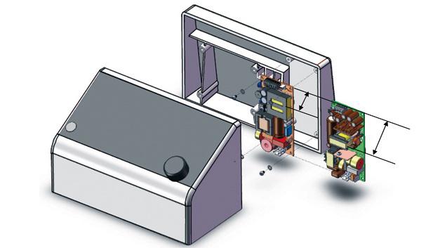 Größen- und Volumenvergleich zwischen einem Standard-180-W-Netzteil und dem ultraflachen (M) ULP180.