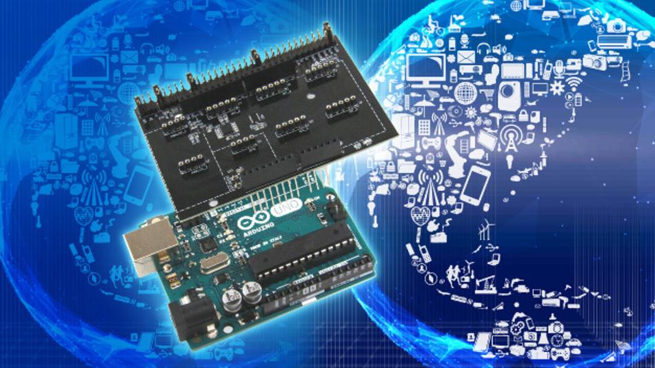 Das neue Arduino-kompatible Sensor-Shield EVK-001 von ROHM Semiconductor.