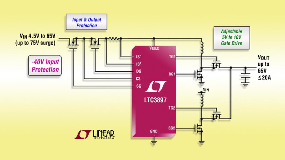 Mehrphasen-Synchron-Aufwärtsreglercontroller mit Eingangs- und Ausgangsschutz.