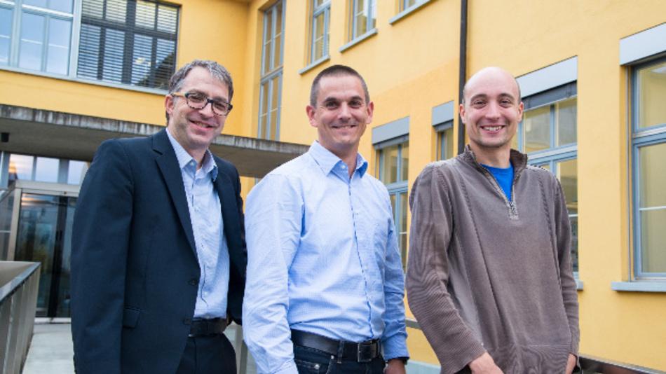 Die Kollmorgen-Mitarbeiter Martin Zimmermann, Thomas Ochsner und Martin Rupf nach dem Umzug nach Neuhausen im Kanton Schaffhausen.