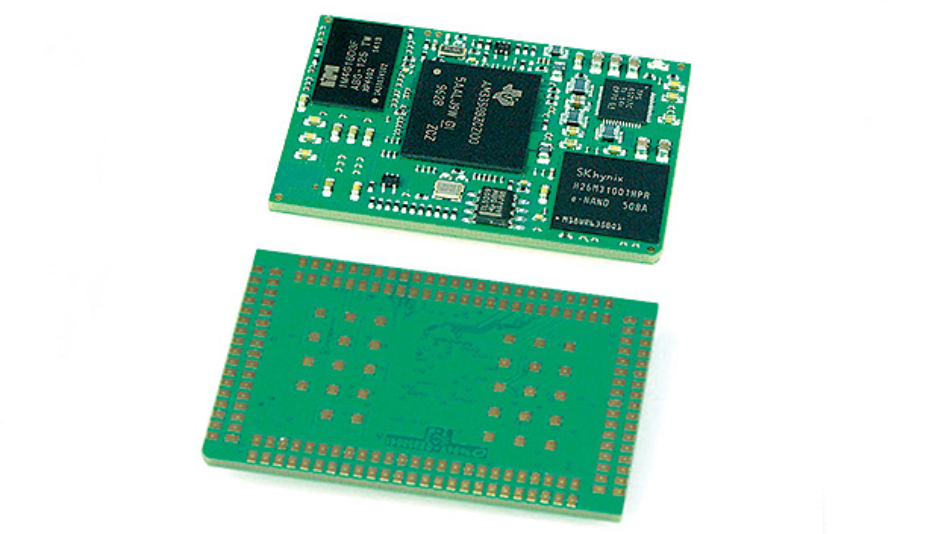 """Bild 2. Die BeagleCore-Module sind sog. """"Land Grid Arrays"""" (LGAs). Von einem Ball Grid Array (BGA) unterscheiden sie sich durch die flachen Lötkontakte. Dadurch sind sie leichter zu verarbeiten."""