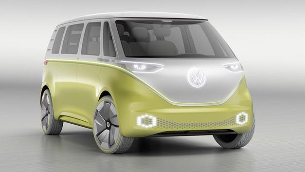 Als neuestes Mitglied der I.D.-Familie präsentiert Volkswagen in Detroit die Studie I.D. Buzz.