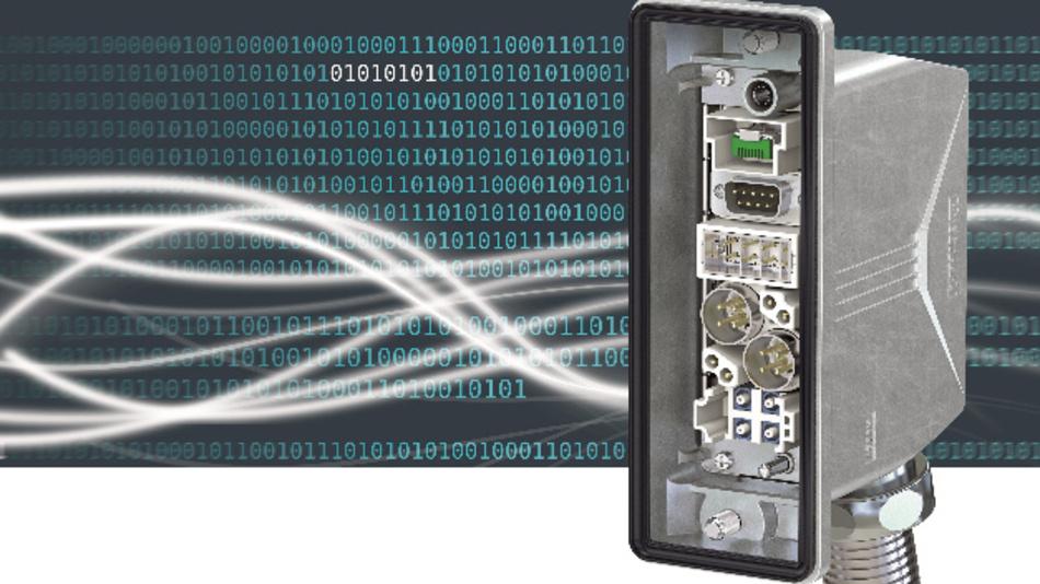 Datensteckverbinder im Heavycon Advance-Gehäuse.  Die eingesetzten Module umfassen: RJ45-Stecker für Daten, 9-poliger D-Sub-Stecker, Gigabit-Modul, EMV-Modul sowie ein SC-Modul für Lichtwellenleiter (von oben nach unten)