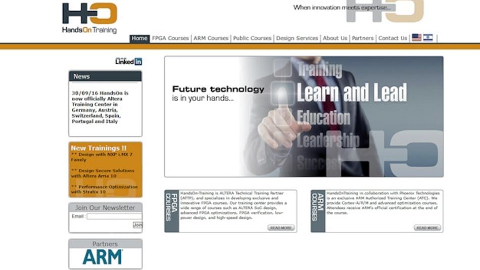 Startseite der Firma HandsOn-Training