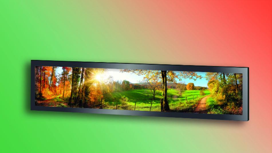 Eine Helligkeit von 1000 cd/m2 bei einer Auflösung von 1920 x 360 Pixel bietet Onations 27,6-Zoll-Display QT276166111-00.
