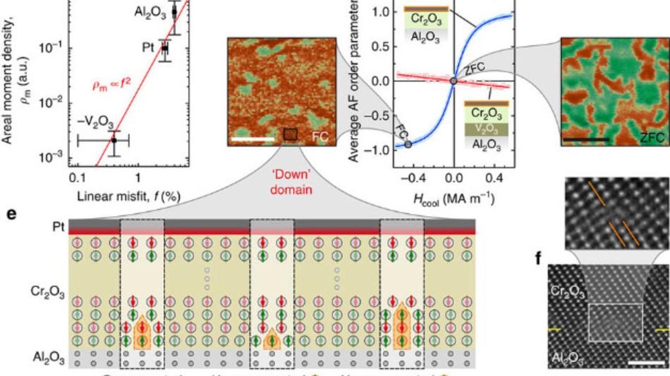 Beim AF-MERAM-Prototypen ohne Cobaltlage ist eine hauchdünne Schicht aus Chromoxid wie die Füllung eines Sandwiches zwischen zwei nanometerdünnen Elektroden eingepasst. Eine nanometerfeine Platinschicht auf dem Chromoxid ermöglicht das Auslesen über den den anomalen Hall-Effekt.