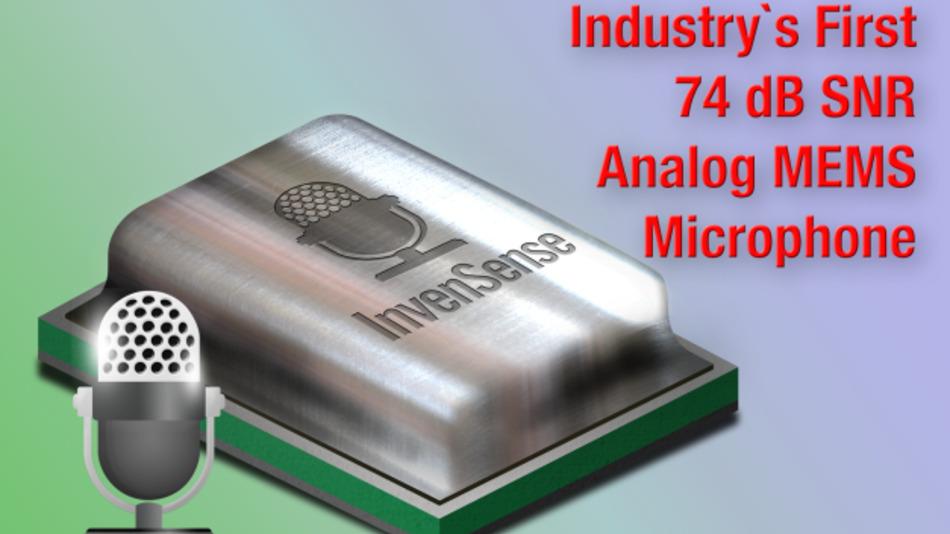 Der ICS-40730 von InvenSense kann mit einem Signal-Rauschabstand von 74 dB punkten.