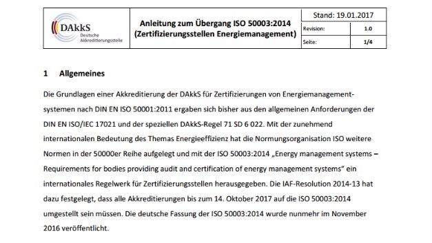 Das Wichtigste in Kürze: DAkks-Anleitung zum Übergang auf ISO 50003:2014