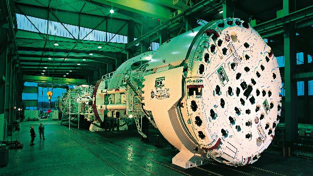 Beim Bau des Gotthard-Basistunnels kam diese Gripper-TBM-Tunnelbohrmaschine zum Einsatz.