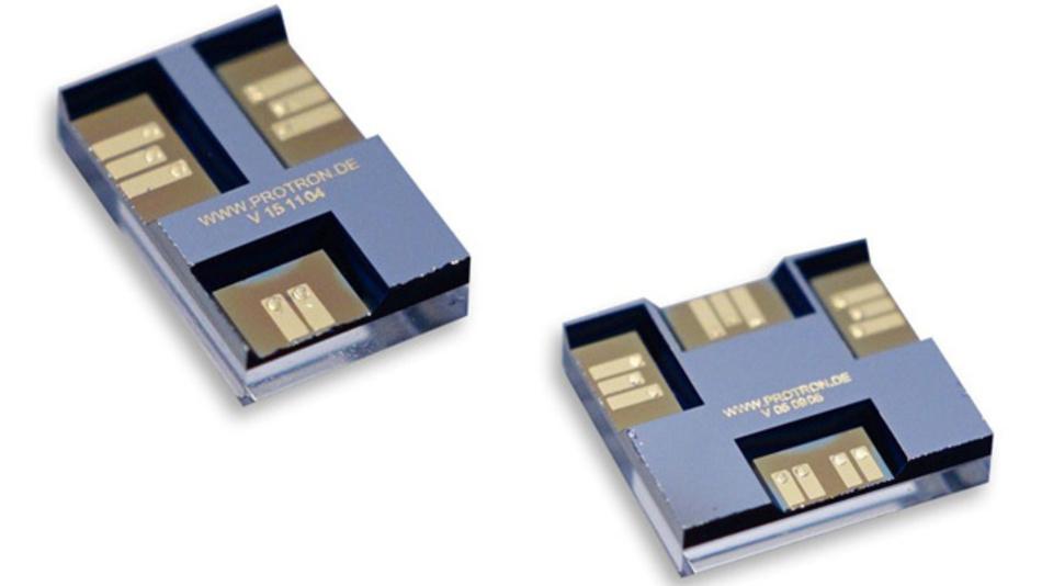 Der HF-MEMS-Schalter von Telemeter Electronic ist als Einschalter (links obern) und Wchselschalter (rechts unten) erhältlich.