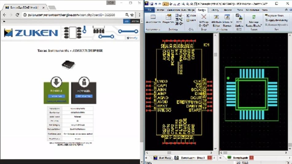 Komponenten der Electronic Component Search Engine von SamacSys können nahtlos in Cadstar übernommen werden.