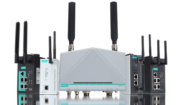WLAN-Router der Serie AWK-A von Moxa Inc. für den Einsatz in automatisierten Transportanlagen.