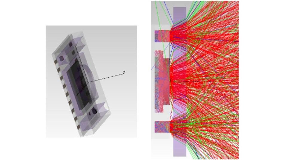 3D-Grafik von Sensoraufbau und Lichtwegen bei optischer Pulsmessung.