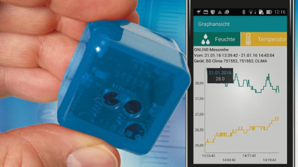 Die BlueCubes sind kleine Datenlogger für Temperatur, Feuchtigkeit, Erschütterung und Spannung.