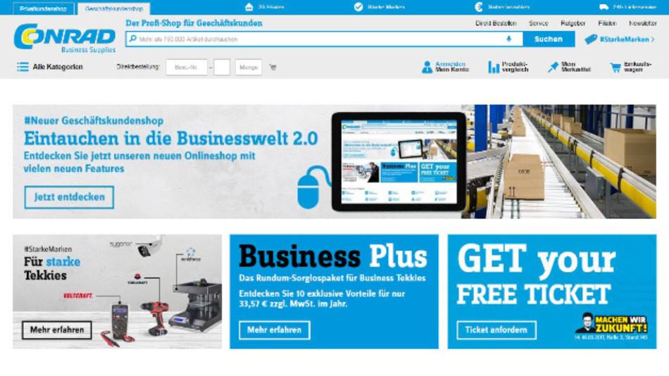 Geschäftig: Der B2B-Shop von Conrad Business Supplies im neuen Design